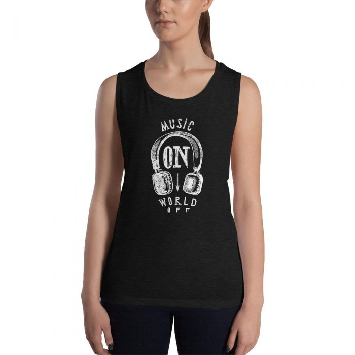 Music On World Off Ladies' Muscle Tank