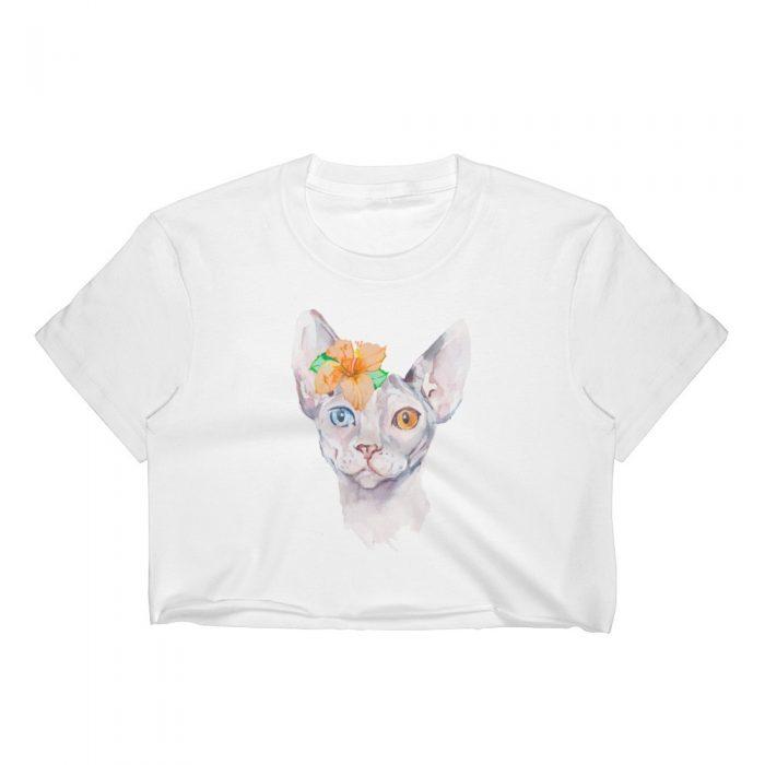 Sphynx Cat with Flower Women's Crop Top