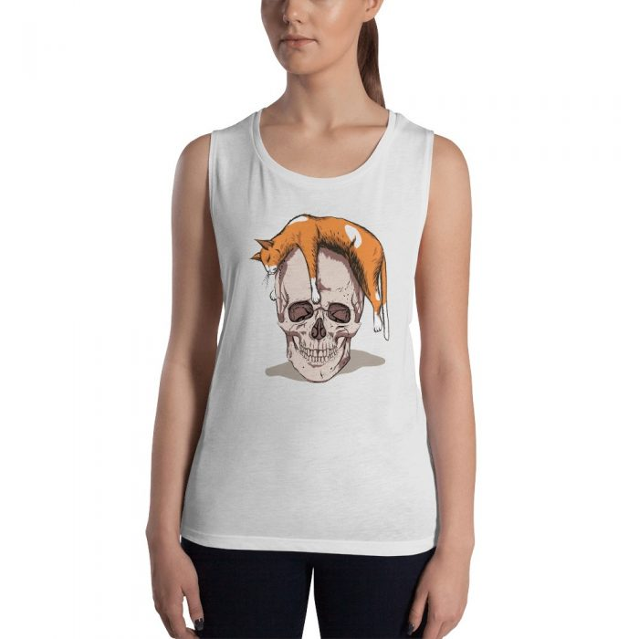 Skull with a Cat Ladies' Muscle Tank