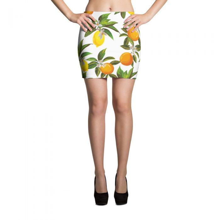 Lemon Orange Pattern Mini Skirt