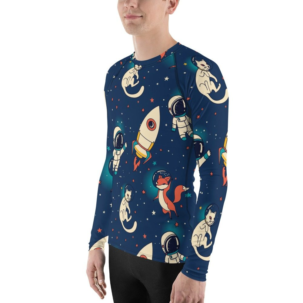 Space Fox & Cat Men's Rash Guard
