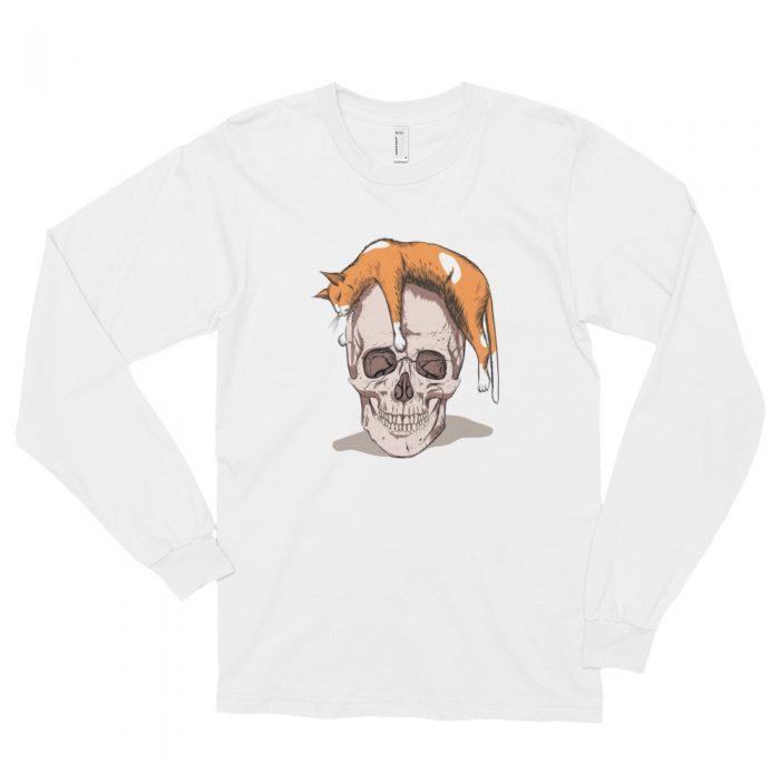 Cat on a Skull Long sleeve t-shirt (unisex)