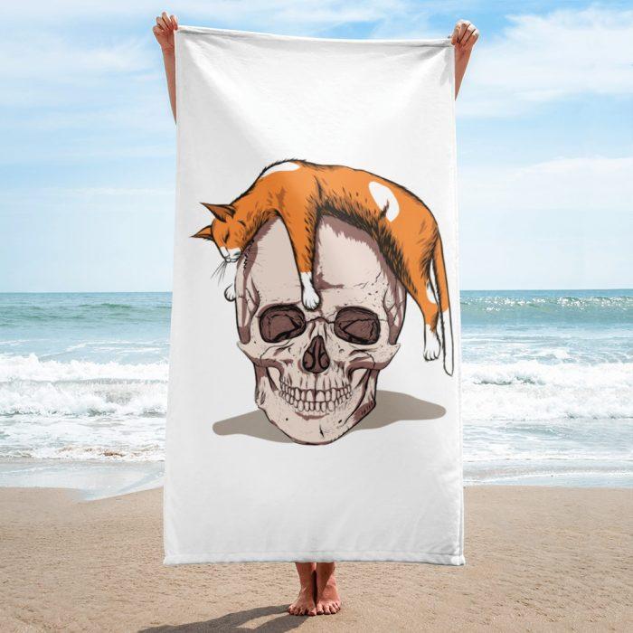 Cat on a Skull Towel