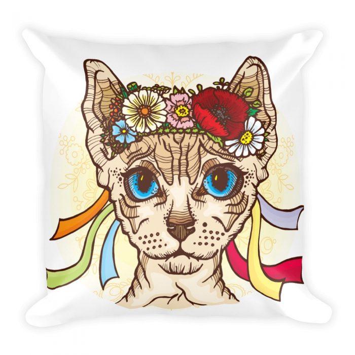 Hippie Cat Basic Pillow