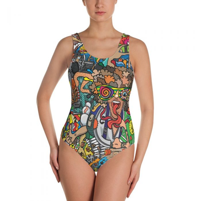 Abstract Cartoon One-Piece Swimsuit