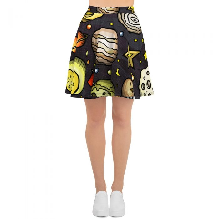 Planets Pattern Skater Skirt