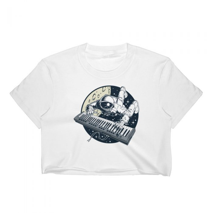 Astronaut Playing Keyboard Women's Crop Top