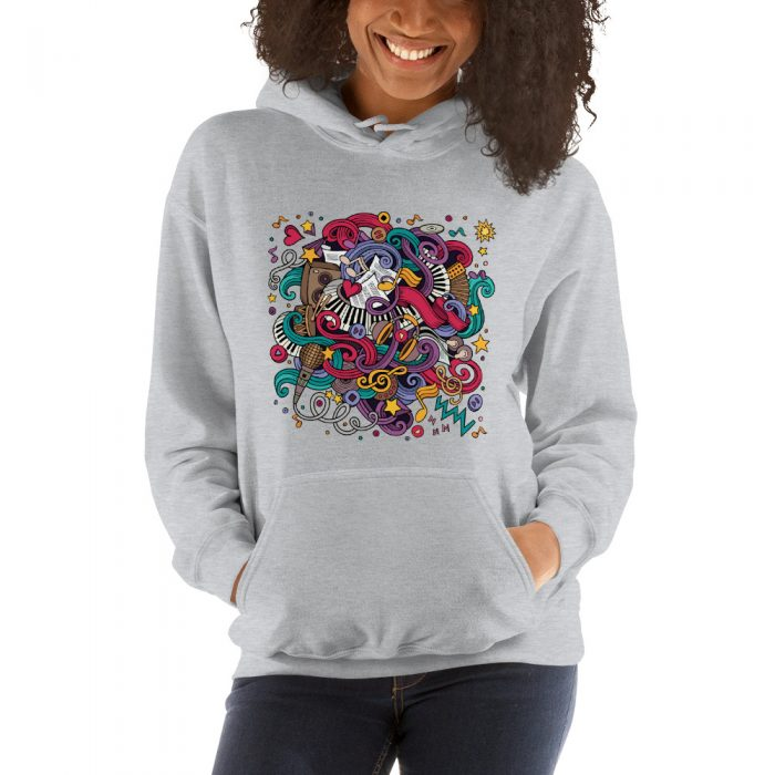 Cartoon Music Doodles Hooded Sweatshirt