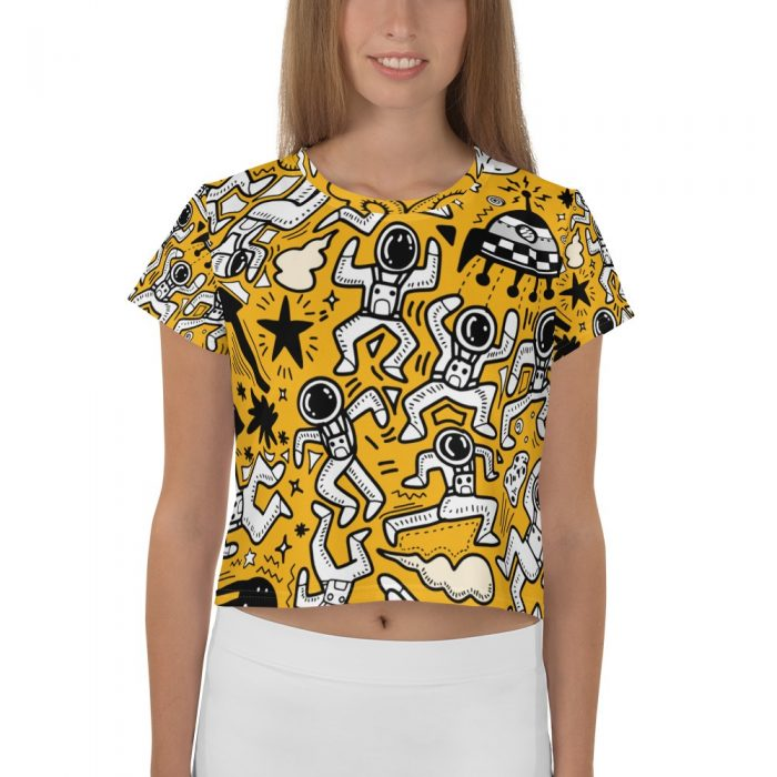 Yellow Space Pattern Crop Tee
