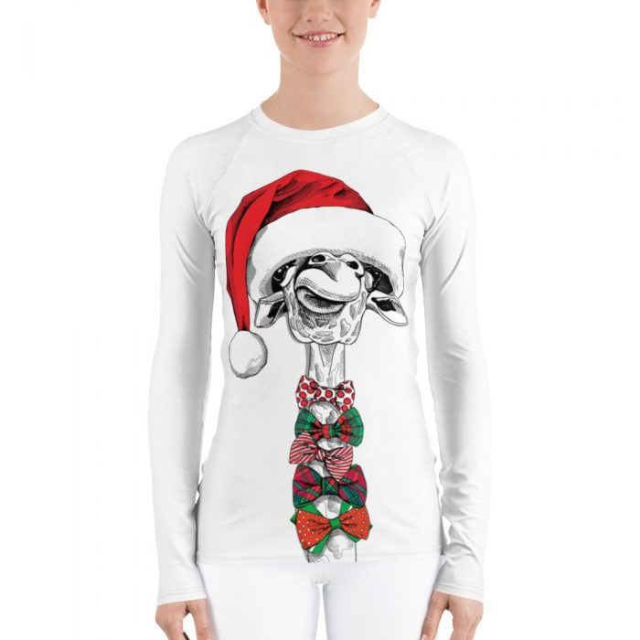Christmas Giraffe Santa Women's Rash Guard