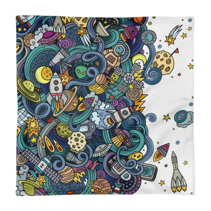 Cartoon Space Pattern Pillow Case only