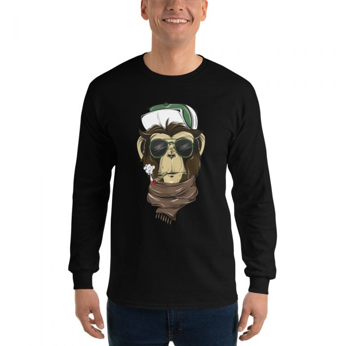Cool Smoking Chimp Long Sleeve T-Shirt