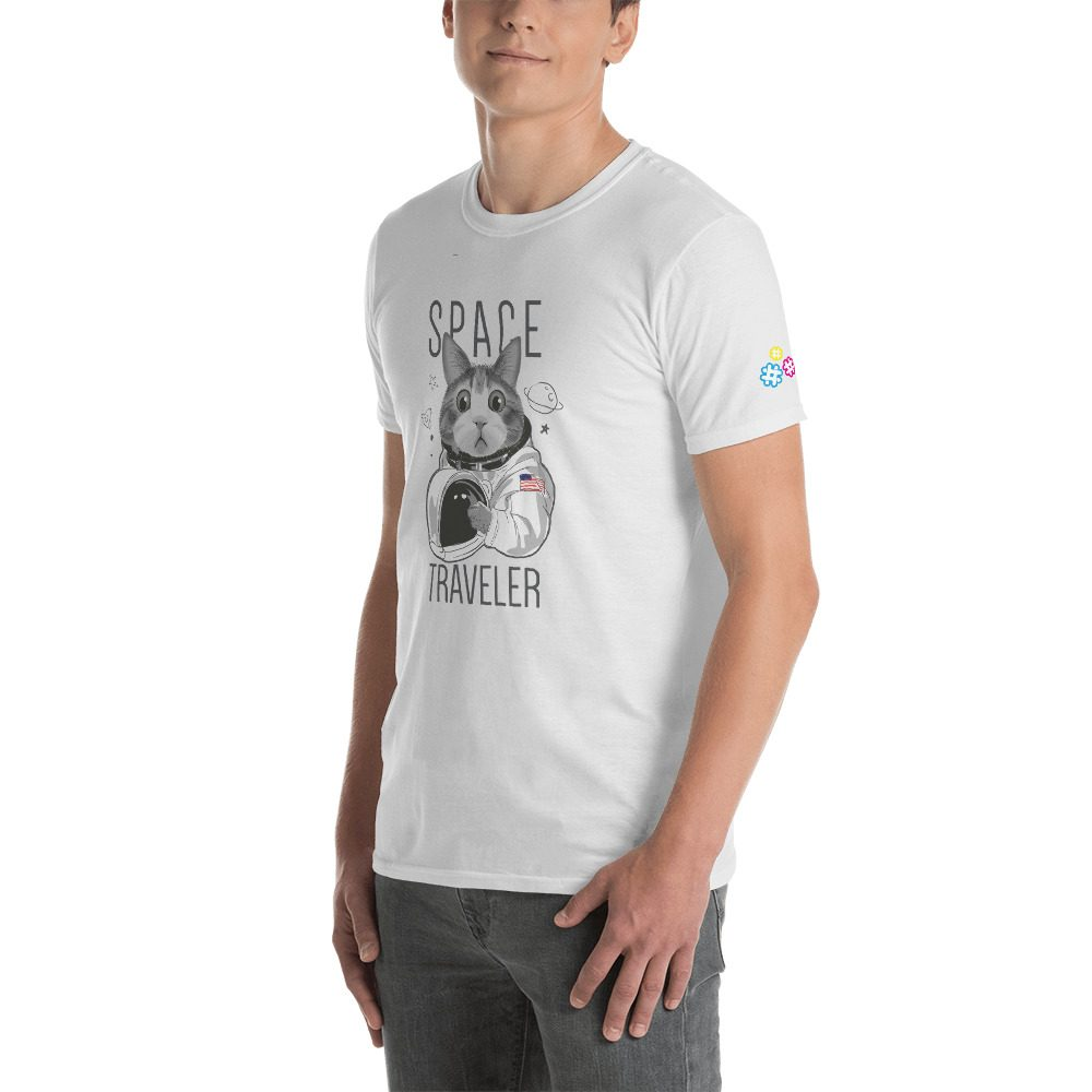 Space Traveler Cat Short-Sleeve Unisex T-Shirt