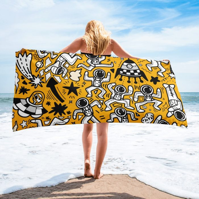 Yellow Space Pattern Towel