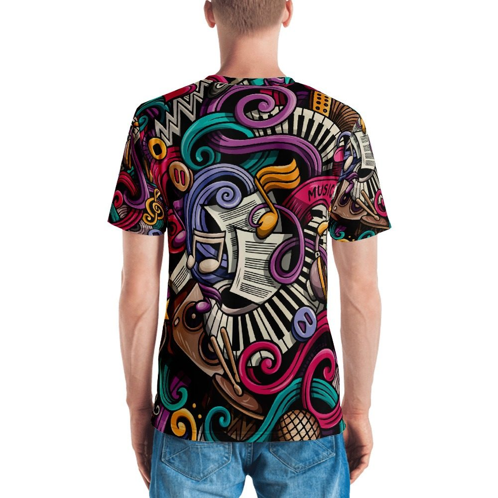 Music Cartoon Pattern Men's T-shirt