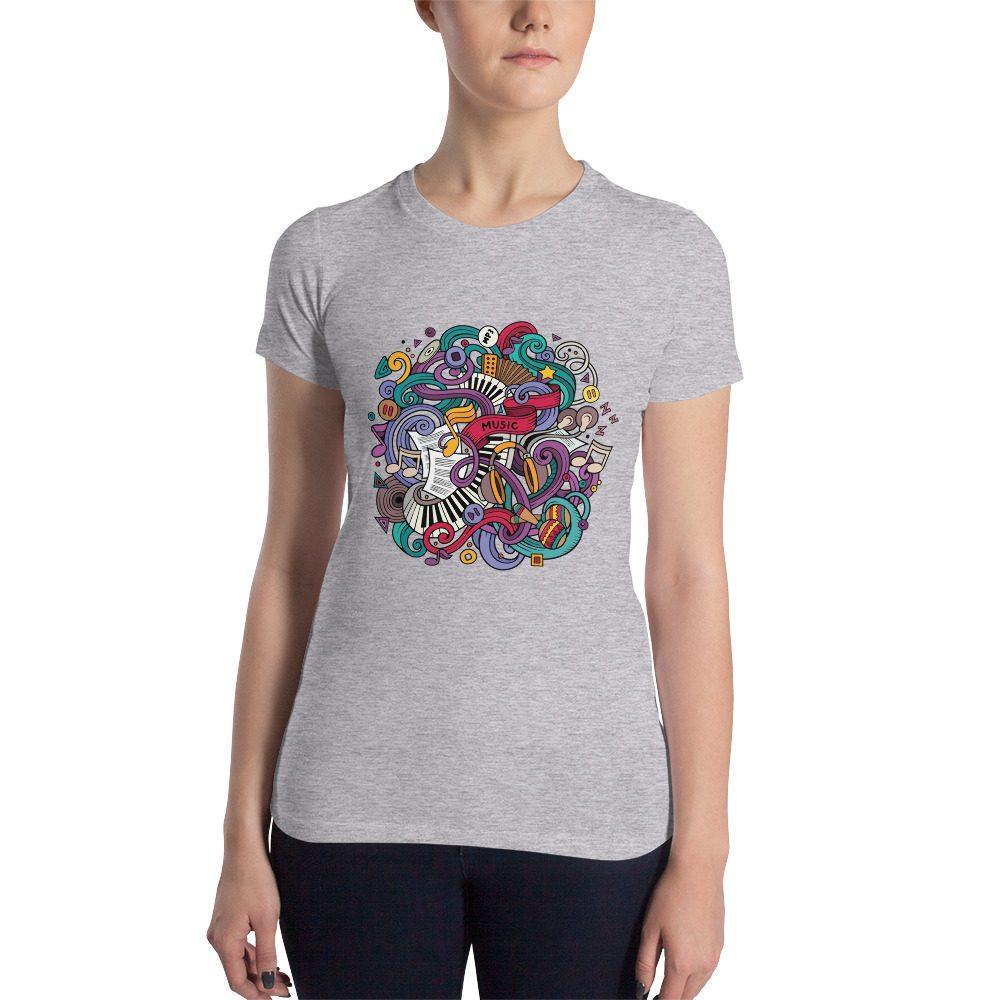 Music Doodles Women's Slim Fit T-Shirt