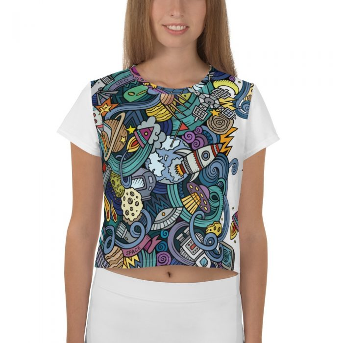 Cartoon Space Pattern Crop Tee