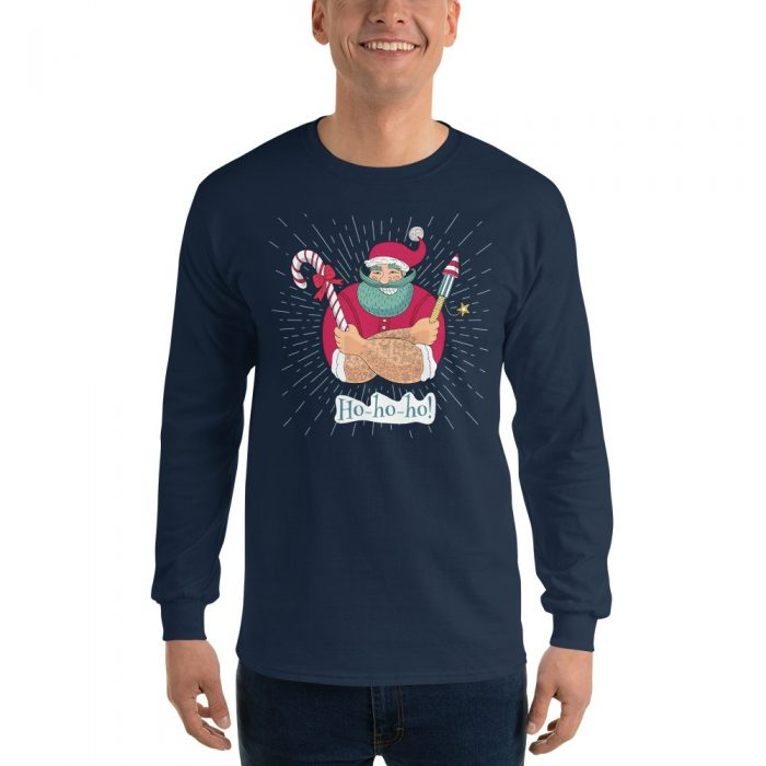 Santa with Fireworks Long Sleeve T-Shirt