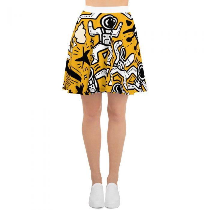 Yellow Space Pattern Skater Skirt
