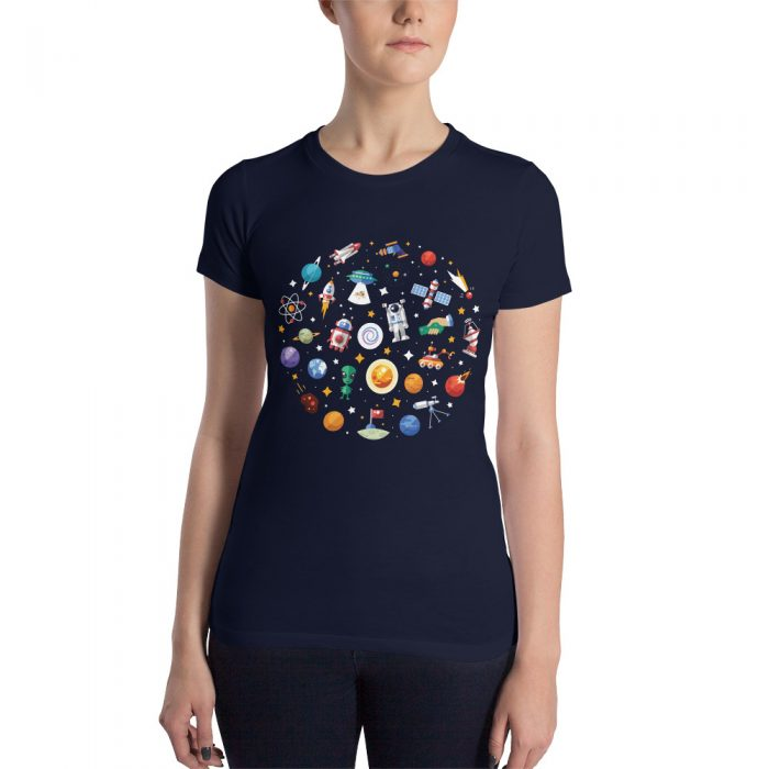 Cartoon Space Doodles Women's Slim Fit T-Shirt