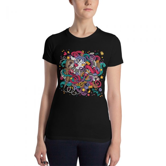 Music Doodles Women's Slim Fit T-Shirt