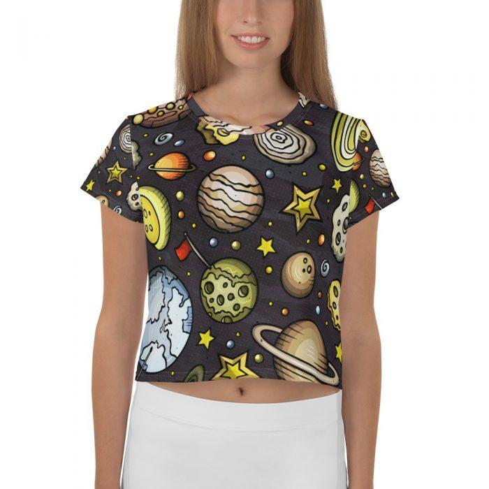 Planets Pattern Crop Tee