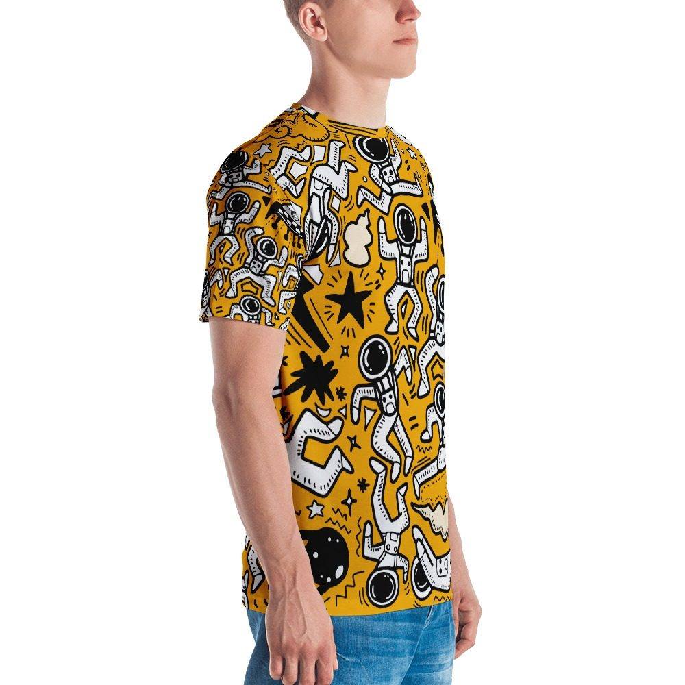 Yellow Space Pattern Men's T-shirt
