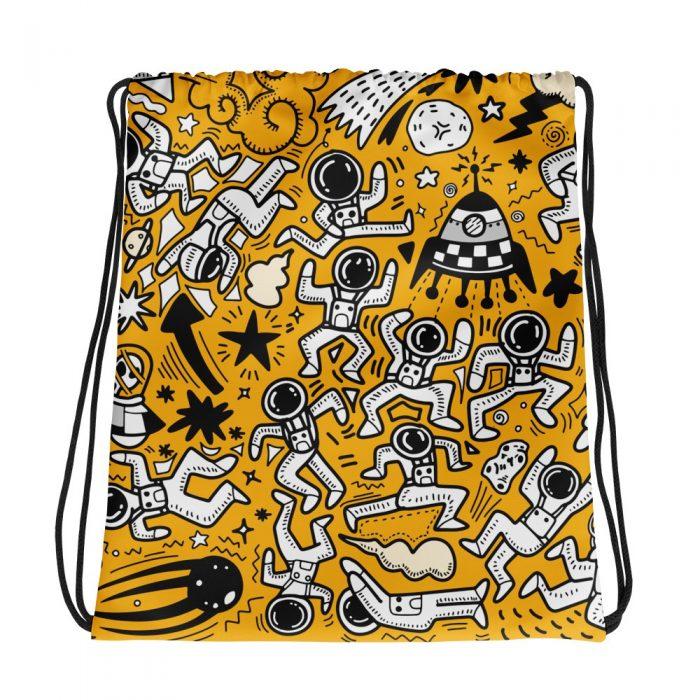 Yellow Space Pattern Drawstring bag