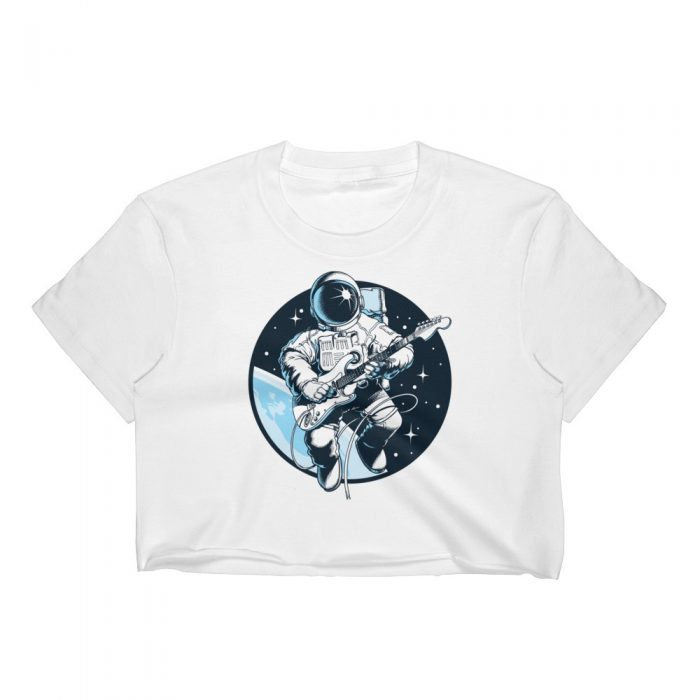 Astronaut Playing Guitar Women's Crop Top