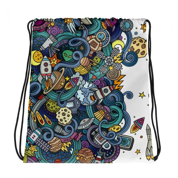 Cartoon Space Background Drawstring bag