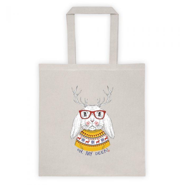 Oh My Deer Christmas Bunny Tote bag