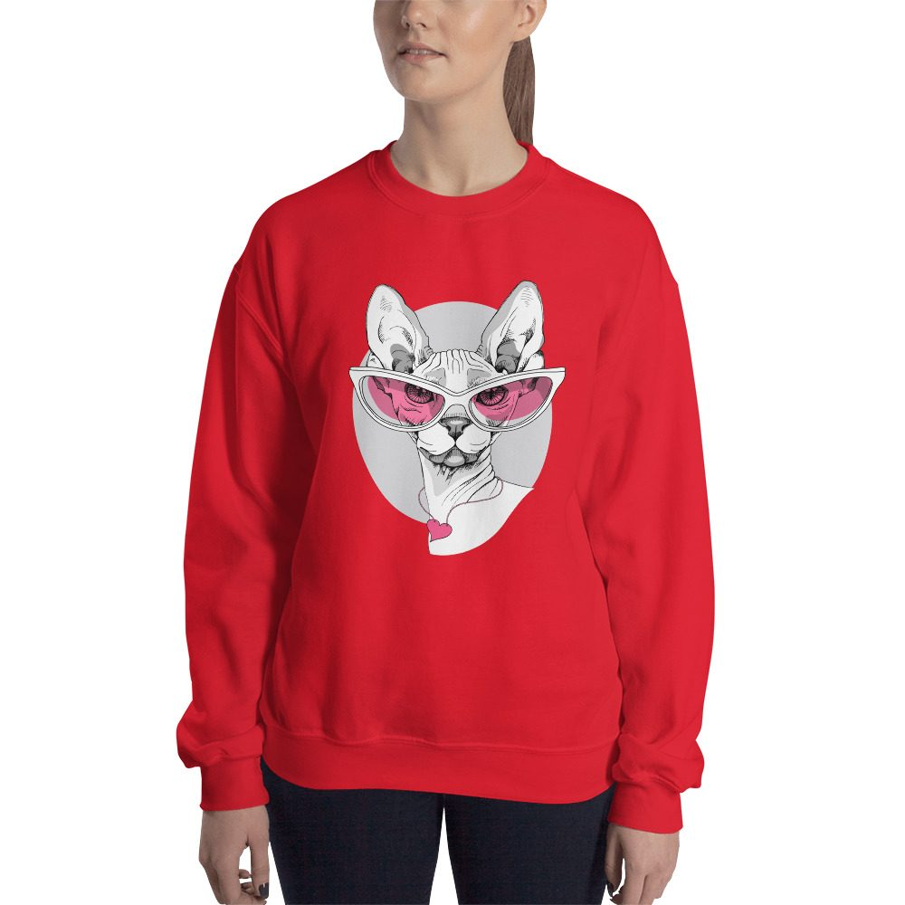 Sphynx Cat in Pink Glasses Sweatshirt
