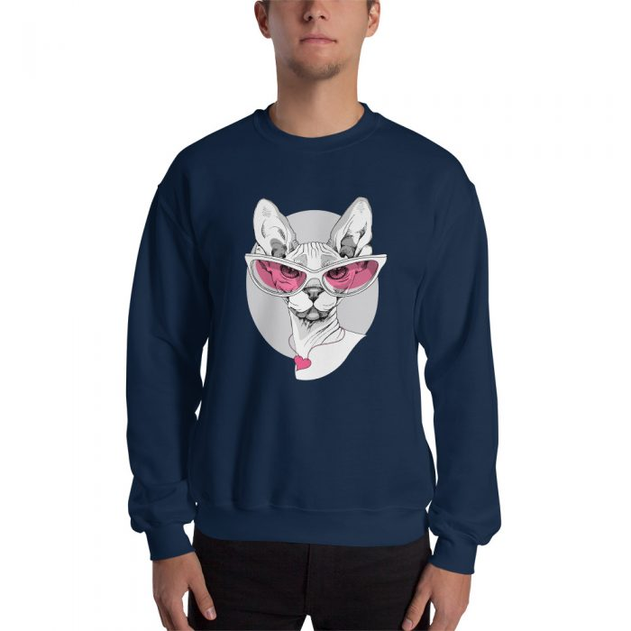 Sphynx Cat in Pink Glasses Sweatshirt