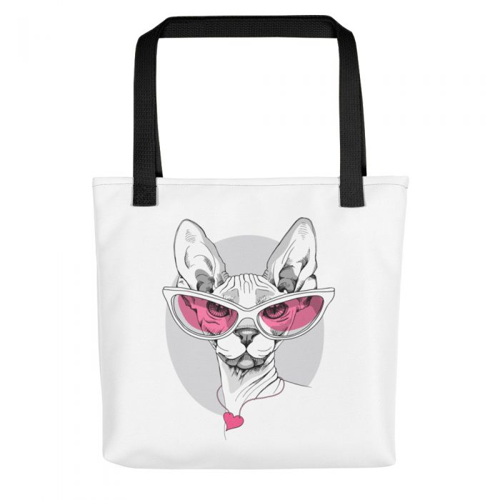 Sphynx Cat in Pink Glasses Tote bag
