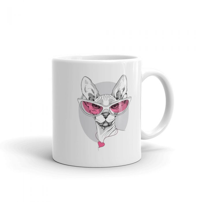 Sphynx Cat in Pink Glasses Mug