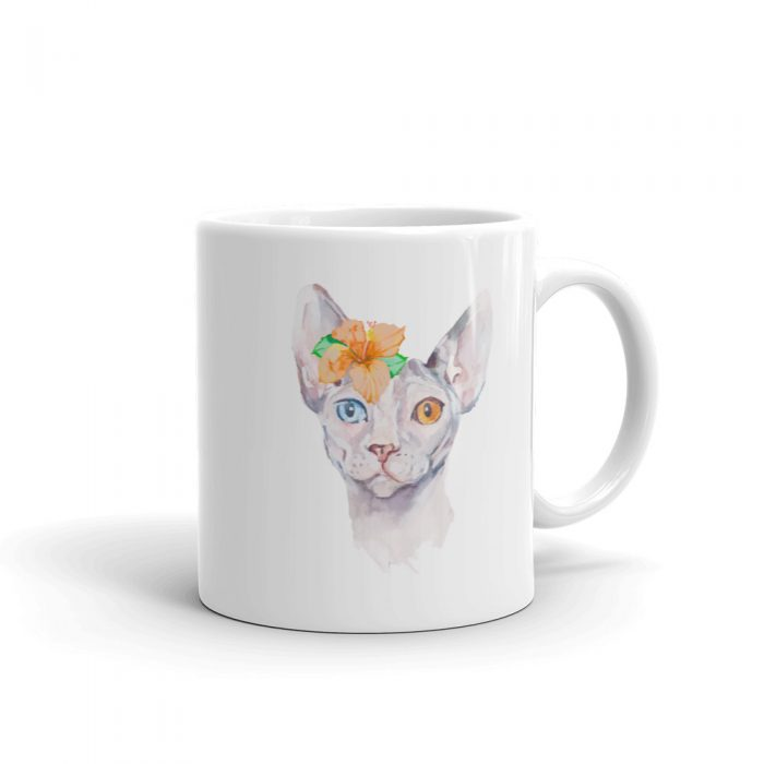 Sphynx Cat Watercolor Portrait Mug